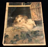 """Rare Antique 1875 G.F Gilman """"Evening Song"""" Chromolithograph Girl Botanical Bird"""