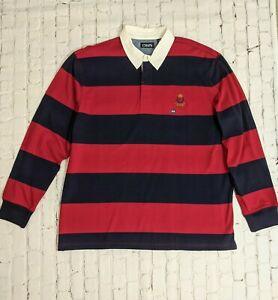 Chaps Big & Tall Red Blue Rugby Striped Long Sleeve Shirt Size 2X