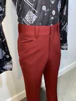 Vtg 70s RESTON Slacks Pants POLYESTER Leisure suit Disco Burgundy MENS 34 25