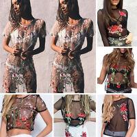 Women Flower Embroidered Transparent Mesh Sheer Crop Top T-Shirt Blouse Tee Tops