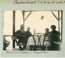 Turquie, Constantinople. Déjeuner sur le Bosphore à Bouyouk Déré  Vintage silver