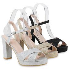 Damen Sandaletten Riemchensandaletten Glitzer Party High Heels 831720 Schuhe