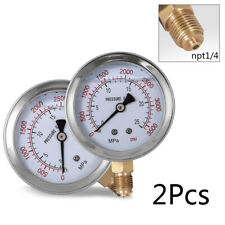 "2Pcs Hydraulic Liquid Filled Pressure Gauge 0-3500 Psi 2.5"" Face 1/4"" Lm Bronze"