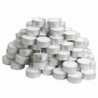 NEW White Unscented Tea Lights Candles 4 Hours Burning Time 20 - 40 - 100 Cheap