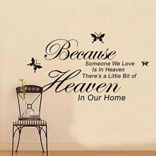 Because Someone We Love Is In Heaven Sayings Words Room Decor Wall Sticker New