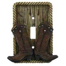 Lodge Rustic Log Home Cabin Decor cowboy boots single light Switch Plate Cover