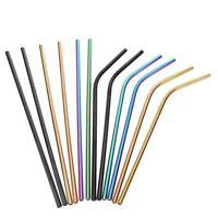 Stainless Steel Drinking Metal Straw Reusable Bar Straws Cleaner Brush Kit