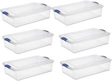 Under Bed Storage Tubs Stackable Latching Plastic 6 Set Attic Dorm Containers