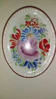 """Handpainted Floral Oval Wall Hanging Trivet, 4-1/2"""" x 3-1/2"""""""