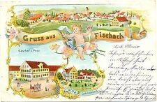 """Fischach, Farb-Litho m. Gasthof """"Zur Post"""", 1899"""
