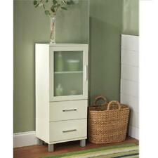 Frosted Pane 2 Drawer Linen Cabinet Bathroom Medical Office Supplies Dental Bath