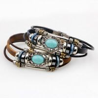 Turquoise Bracelet Vintage Leather Multi-layer Charm Braclet Lot Men Women Gift