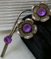 Vintage 40s Prong Set Lucite Amethyst Stones Open Floral Silver Tone Pin Brooch