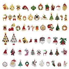 10Pcs Enamel Mixed Christmas Series Santa Tree Bell Charms Pendant DIY Findings