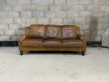 Chesterfield Style Aged Cigar Tanned Brown Leather 3 Seater Club Sofa
