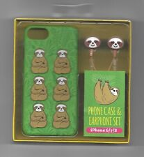 iPhone 6/7/8 phone case and earphone set - Wild Sloth Design