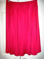 Ladies Size Petite Large Bright Red Gored Full Skirt with Elastic Waistband