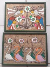 Set of 2 Vintage Mexican Amate Folk Art Painting Retro Bird Paintings Kitschy