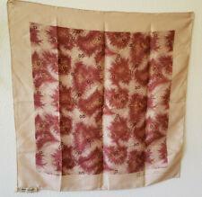 Vintage Silk Scarf Anne Klein Robinson & Golluber Wine Beige 21 x 20. Japan