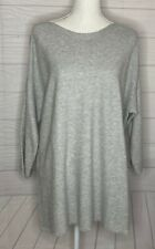 NWT Chico's Size 3 Angela Pullover Heather Gray Top Shirt 3/4 Sleeves Ribbed New
