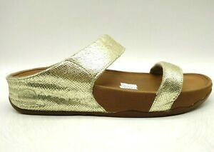 Fit Flop Logo Gold Textured Leather Casual Slide Sandals Shoes Women's 9
