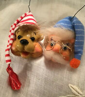 1980's -2 Vintage Handmade Christmas Ornaments-LONG WINTER'S NAP-Clay Sculpture