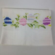 ATQ VTG Pillowcase Hand Stich Embroidery Trim Colorful Handmade Floral Flowers