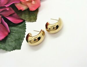 Nice! SLC 14K Yellow Gold Puffed Curved Hoop Pierced Dangle Earrings 3.7 Grams!