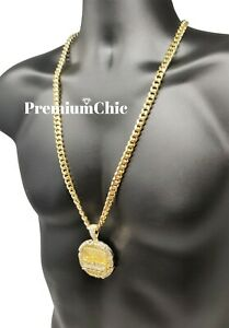 "Jumbo Last Supper Pendant & 30"" Cuban Link Chain Necklace Mens Hip Hop Jewelry"