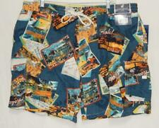 "New CARIBBEAN JOE Men's ""Caribbean Post Cards"" Dark Blue Swim Trunks Size 2XL"
