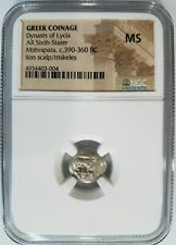 Dynasts of Lycia BC NGC MS Greek Mithrapata Lion Silver 1/6 Stater Perikles
