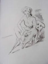 """DIGNIMONT / LITHOGRAPHIE signée """" Femme à l'ombrelle """"  38x28 1946"""