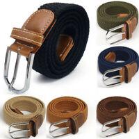 Men Women Waist Belt Leather Canvas Woven Elastic  Stretch Unisex