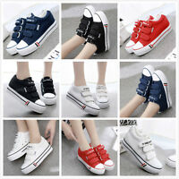 Korean Women Hidden Wedge Platform Canva Casual Fashion Sneaker Pump Shoes Ths01