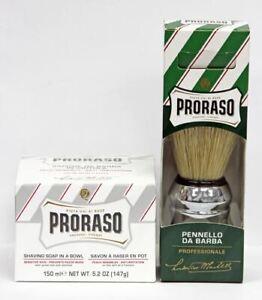 PRORASO Shaving Soap in a Bowl (Sensitive Skin) 150ml + Proraso Shaving Brush