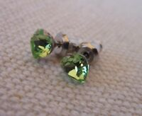 HYPOALLERGENIC Stud Earrings Lead and Nickel Safe  Heart Shape Crystal Peridot