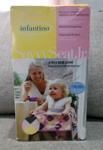 Infantino Savvy Seat Jr. 2-in-1 Seat Cover Pink Yellow Brown Square Microban New