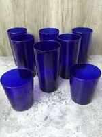 6 Vintage MCM Cobalt Blue Tumbler Drinking Glass Midcentury Modern Highball + 2