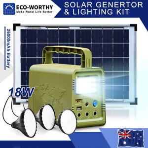 84Wh Solar Panel Generator Kit 26000mAH Portable Power Station LED Camping Light