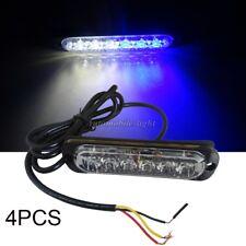 4PCS 18W 6 LED Mini Emergency Warning Beacon Strobe Flasher Light Bar WHITE-BLUE