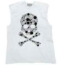 Flowery Skull And Crossbones Floral Rebel Womens Muscle Tank Top T-Shirt Tee