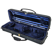Deluxe Oblong 4/4 Acoustic Violin Fiddle Case Black/Blue Strap **CLEARANCE**