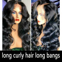 26 inch Woman Black Long Curly Lace Front Wig Loose Body Wave Human Hair Wigs-RO