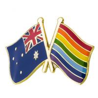 AUSTRALIA & GAY PRIDE FRIENDSHIP FLAG Enamel Pin Badge Lapel Brooch Gift PN40