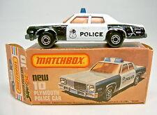 Matchbox SF Nr.10C Plymouth Police Car weiß & schwarz in Box
