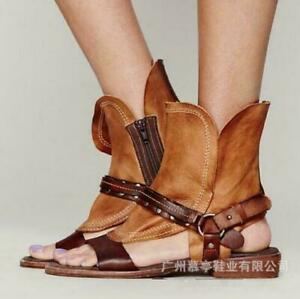 Fashion Women Open Toe Hollow Sandals Ankle Boots Retro Gladiator Leather Shoes