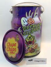 VTG Chupa Chups Lollipop Advertising Tin Milk Can Canister Bail Handle Halloween