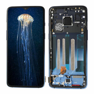 For Oneplus 7 LCD Display Touch Screen Digitizer Replacement+Frame Glacier Blue