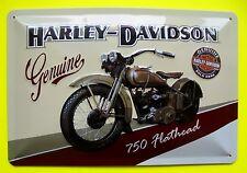 Tin Sign Nostalgie Blechschild Harley Davidson Genuine 750 Deko 20 x 30 cm