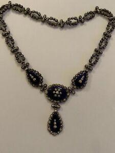 Stunning Beautiful Fine Vintage Sterling Silver Blue Enamel & Paste Set Necklace